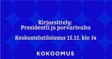 Presidentti ja porvarivalta: kirjaesittely Valveella 15.12. klo 14
